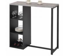 Table haute de bar PIAVA mange-debout comptoir avec 3 étagères dont 1 porte-bouteilles, en métal laqué noir et MDF décor béton - Tables bar