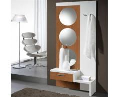 Meuble d'entrée Blanc/Noyer + miroir - GOMELLE - Commodes