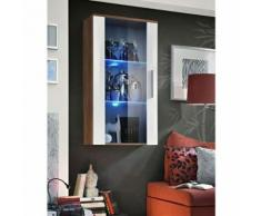 Paris prix - vitrine led murale design 'neo' 110cm prunier & blanc brillant - Vaisseliers