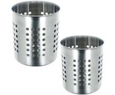 Lot Ensemble De 2 Range Couverts en Inox Pot Egouttoir à Couverts Avec Pot à Ustensiles Cuisine - Accessoires de rangement