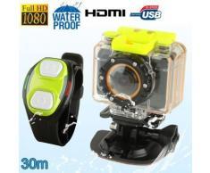 Mini caméra sport télécommandé caisson waterproof 30m Full HD 1080P - Caméscope à carte mémoire