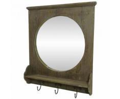 L'Héritier Du Temps - Miroir mural meuble d'entrée glace ronde avec 3 crochets porte manteaux en bois et fer marron 9x55x64cm - Miroir