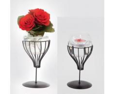 Vase déco / bougeoir lampion design - gris - Objet à poser
