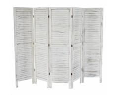 Paravent /séparation bois, 5 pans, 228x2x170cm, shabby, vintage, blanc - Objet à poser