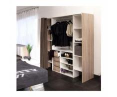 DRESS Kit dressing extensible + rideau contemporain blanc et décor chene - L 112-185 cm - Armoire