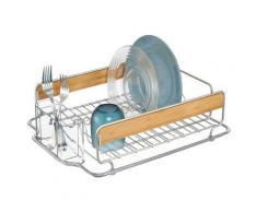 Egouttoir en métal et bois avec range couvert en plastique 43.25x34.25x12.75cm FORMBU - Aide culinaire
