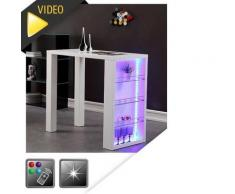 FLASH Table de bar laquée blanc + led mutlicolore - Tables bar
