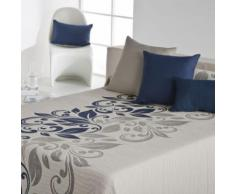 Couvre-Lit 235X270cm Tissé Jacquard Lami Bleu Pour Lit De 140X190cm 100pourcentcoton - Linge de lit