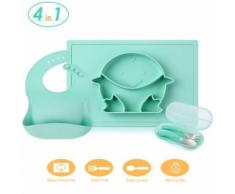 Gblife Vaisselle Bébé 4 en 1 Coffret de Vaisselle pour Enfant en Silicone avec Napperon, Bavette, Fourchette et Cuillère - vaisselle