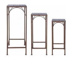 Esschert Design - Sellettes en céramique et fer forgé (Lot de 3) - Tables d'appoint