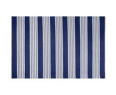 Tapis intérieur extérieur Mariona Stripe bleu et blanc 90 x 60 cm - Tapis et paillasson