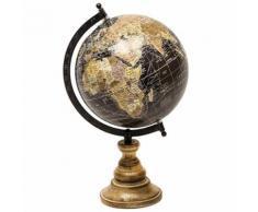 L'Héritier Du Temps - Grande mappemonde globe terrestre décoratif rotatif planisphère sur pied carte ronde 21x23x36cm - Objet à poser
