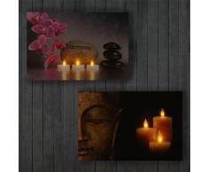 Toile de décoration murale x2 LED tableau illuminé motif bouddha DEC04016 - Décoration murale