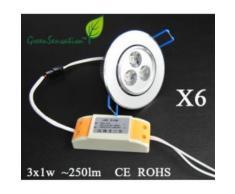 LOT de 6 Spots orientables à Led à encastrer avec transformateur 12 V inclu pour plafonnier - Ampoules à LEDs