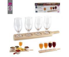 Coffret 5 pièces : 4 verres à bière + 1 planche de présentation - Verrerie