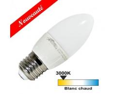 Ampoule led E27 5 watt flamme - Couleur eclairage - Blanc chaud 3000°K - Ampoules à LEDs