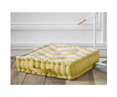 Coussin de sol coton 5 capitons zigzag jaune/blanc 45x45x12cm CALIFORNIA DREAM - Textile séjour