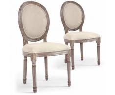 Lot de 2 chaises médaillon Louis XVI Tissu Beige - Chaise