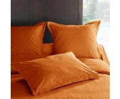 Taie d'oreiller percale Méline 2 LABELIS SIM 50 x 70 cm Orange Cuivré - Linge de lit