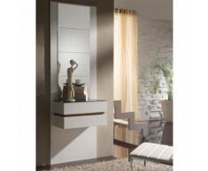 Meuble d'entrée Blanc/Noyer + miroirs - LOUMI - Commodes