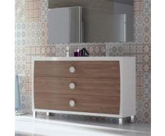 Meuble 120 cm 3 tiroirs blanc et bouleau + double vasque céramique, Quartz - Installations salles de bain