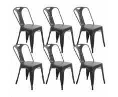 Zons Lot De 6 Chaises Industrielles Retro Empilable Noir Mat 42X47Xh78Cm - Chaise