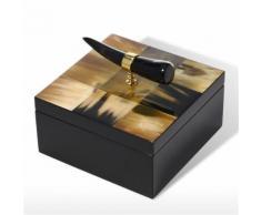 Tooarts Boîte à bijoux avec corne rayures en bois Carré bijoux affichage bague collier boîte de rangement cadeaux d'anniversaire pour les femmes Black Velvet - Objet à poser