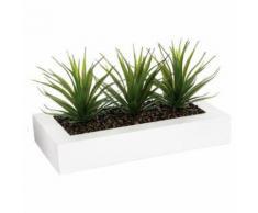 Paris Prix - Centre De Table Aloe Vera plant 31cm Blanc - Plantes artificielles