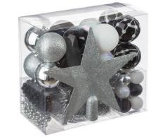 Kit de 44 décorations pour sapin - Noir blanc et argent - Guirlandes, boules et cimier - Objet à poser