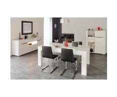 Salle à Manger Complète Laqué Blanc - SHINY - Tables salle à manger
