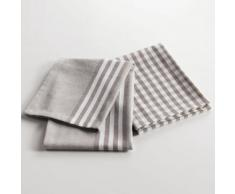 2 torchons 50 x 70 cm coton tisse coquette Taupe - Linge de table