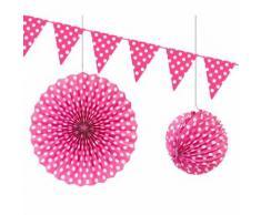Lot de 6 Décorations à pois coloris Fuschia Lampion, rosace et guirlande de fanions - Objet à poser