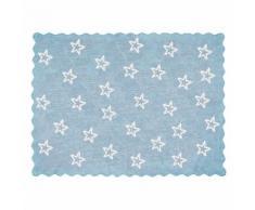 Tapis enfant coton étoiles Paris Lilipouce Bleu ciel 120x160 cm - Tapis et paillasson