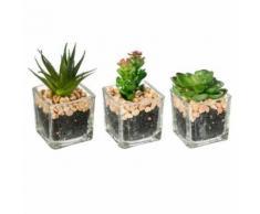 Paris Prix - Lot De 3 Plantes Artificielles galet 7,5cm Vert - Plantes artificielles