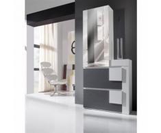 Meuble d'entrée Cendre/Blanc + armoire - KAMILIA - Commodes