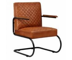 Meelady Fauteuil Cuir Véritable en Style Classe Moderne pour Salon/Bureau Marron Clair 63 x 75 x 88 cm - Chaise