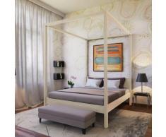 Lit double à baldaquin ROMANCE 140x190 / Naturel - Cadre de lit
