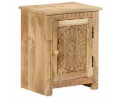 KKmoon Table de Chevet Table d'Appoint Bois de Manguier Massif avec 1 Armoire pour Chambre à Coucher ou Salon 40 x 30 x 50 cm - Tables hautes