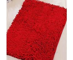 Tapis de bain en chenille à poils longs Rouge - Accessoires de bain