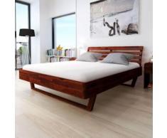 Cadre de Lit en Bois 180 x 200 cm pour Double Marron Comfort Lit Adulte - Cadre de lit