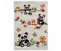MonBeauTapis 100163 Fuji panda Tapis pour Enfant Mélange de Laine/Polypropylène Écru 150 x 100 cm - Tapis et paillasson