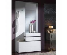 Meuble d'entrée Blanc + miroirs - VANA - Commodes