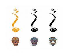 Lot de 3 suspensions spirale têtes mexicaines - 60 cm - Objet à poser