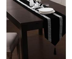 Chemin de table classique à motif argent en polyester - linge de table et décoration