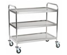 Chariot de service cuisine professionnel inox 2 étages max 320 kg arrondi 3614113 - Accessoires de rangement