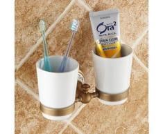 Porte-verres mural de type antique en laiton pour dentifrice et brosse à dents - Accessoires de bain