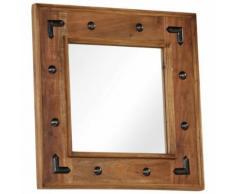 Miroir Bois d'Acacia Massif Miroir de Salle de Bain Miroir de Entrée 50 x 50 cm - Objet à poser