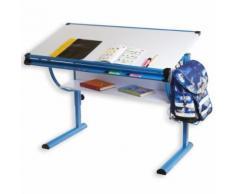 Bureau enfant écolier junior BLUE table à dessin réglable en hauteur et plateau inclinable avec tablette en MDF, structure bleu - Bureaux