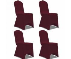 vidaXL Housse de chaise extensible pour Déco Mariage Cérémonie Fête 4 pcs Bordeaux - Textile séjour