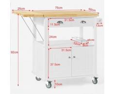 SoBuy® Desserte sur roulettes Meuble rangement chariot de cuisine ,FKW19-WN FR - Dessertes de rangement